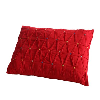 Embroidered Dot Lumbar Pillow Color: Scarlet