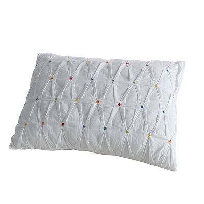 Embroidered Dot Lumbar Pillow Color: White