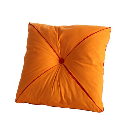 Square Reversible Button Accent Throw Pillow Color: Scarlet/Tangerine