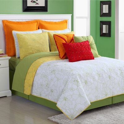 Cotton 3 Piece Reversible Quilt Set Size: King, Color: Yellow
