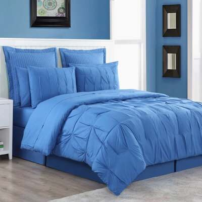 Luna Reversible Comforter Set Size: Twin, Color: Blue