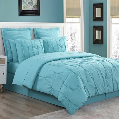 Luna Reversible Comforter Set Size: King, Color: Turquoise
