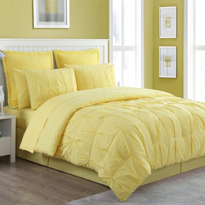 Luna Reversible Comforter Set Size: King, Color: Yellow