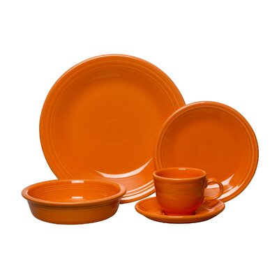 5 Piece Place Setting Color: Tangerine