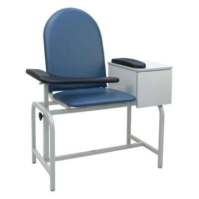 Winco Manufacturing Padded Blood Drawing Chair with Drawer - Color: Moss Green, Style: TB133, IV Pole Left Rear at Sears.com