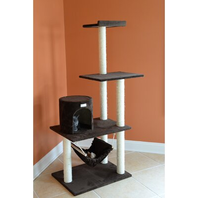 62 Cat Tree Color: Coffee Brown