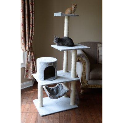 62 Cat Tree Color: Silver Gray