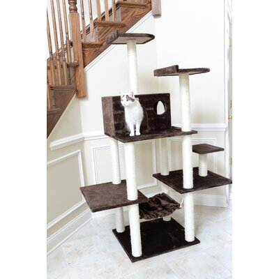 68 Cat Tree Color: Coffee Brown