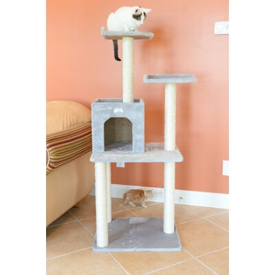57 Cat Tree Color: Silver Gray