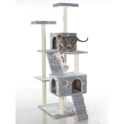 70 Cat Tree Color: Silver Gray