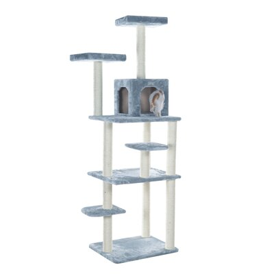 74 Cat Tree Color: Silver Gray