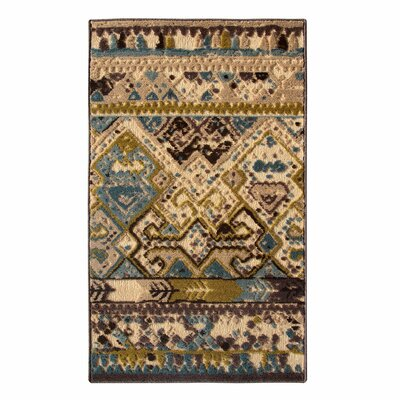 Tribal Council Teal/Beige Area Rug Rug Size: Runner 26 x 76