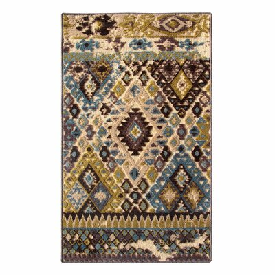 Tribal Council Teal/Beige Area Rug Rug Size: 5 x 8