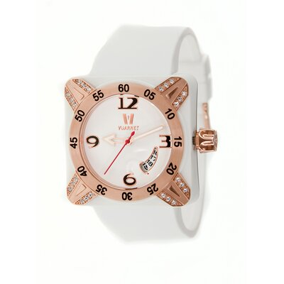 Deepest Lady Ladies Watch in White with Rose Gold Bezel