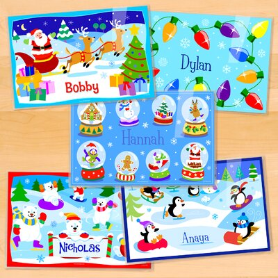 Christmas 5 Piece Personalized Placemat Set