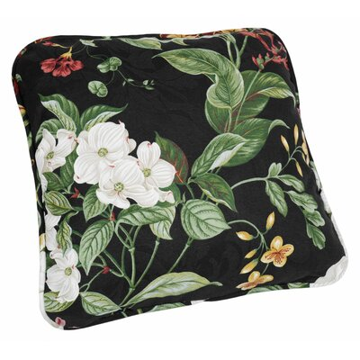Garden Images Large Scale Floral Print Toss Cotton Throw Pillow Color: Black