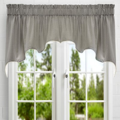 Landis Mini Check Textured Weave Duchess Lined Curtain Valance Color: Black