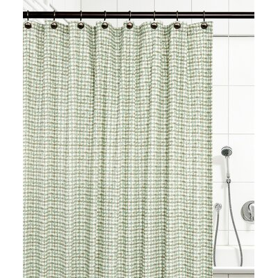 Breckan Ikat Check 100% Cotton Shower Curtain Color: Green