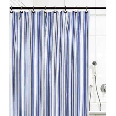 Jaden Stripe Shower Curtain Color: Blue