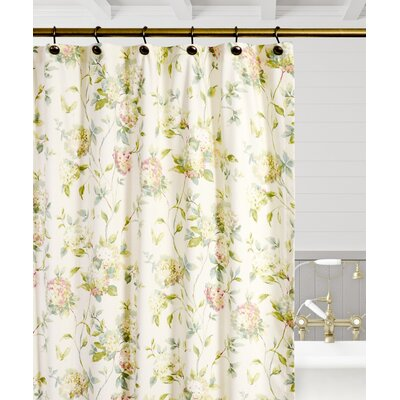 Kyra Hydrangea Shower Curtain Color: Green
