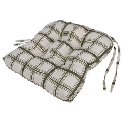 Large Scale Plaid Cushioned Chair Pad in Green