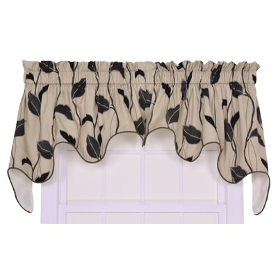 Ellis Curtain Ellis Curtain Riviera Large Scale Leaf and Vine Lined Duchess Valance Window Curtain, Black