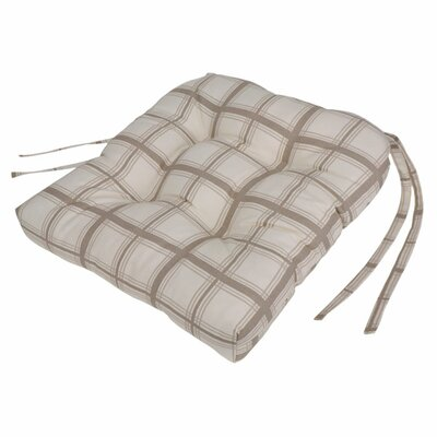 Large Scale Plaid Cushioned Chair Pad in Linen