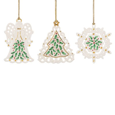 3 Piece Holiday Pierced Shaped Ornament Set 879347