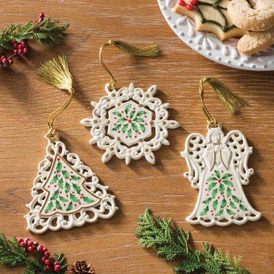3 Piece Holiday Pierced Shaped Ornament Set 879347