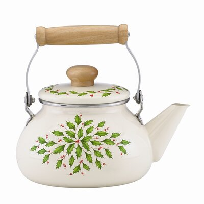 Holiday Tea Kettle Wooden Handle