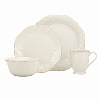 French Perle White 4 Pieces Plate Ace Setting