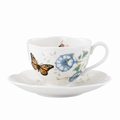 Butterfly Meadow 8 oz. Monarch Cup and Saucer (Set of 4) 812099