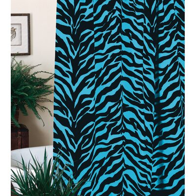 Zebra Shower Curtain Color: Blue