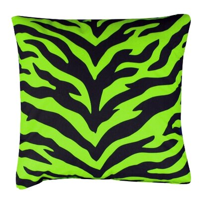 Zebra Cotton Throw Pillow Color: Lime