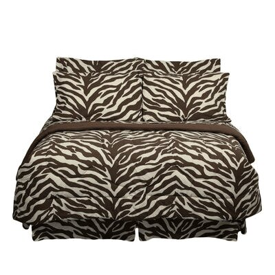 Brown Zebra Bed in a Bag Collection-Brown Zebra Waterbed Sheet Set
