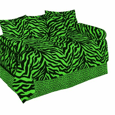 Zebra Ensemble 5 Piece Daybed Set Color: Lime