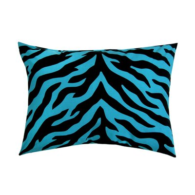 Zebra Oblong Lumbar Pillow Color: Blue
