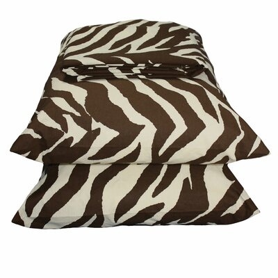 Zebra Sheet Set Size: Twin Extra Long, Color: Brown / White