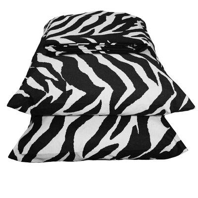 Zebra Sheet Set Size: California King, Color: Black / White