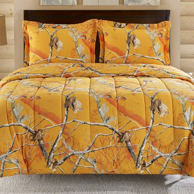 2 Piece Twin Comforter Set Color: Orange Camo