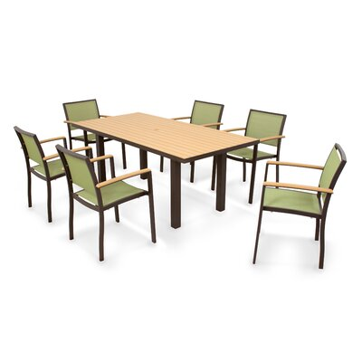 Bayline? 7 Piece Dining Set Finish: Textured Bronze, Fabric: Kiwi