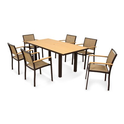 Bayline? 7 Piece Dining Set Finish: Textured Bronze, Fabric: Burlap