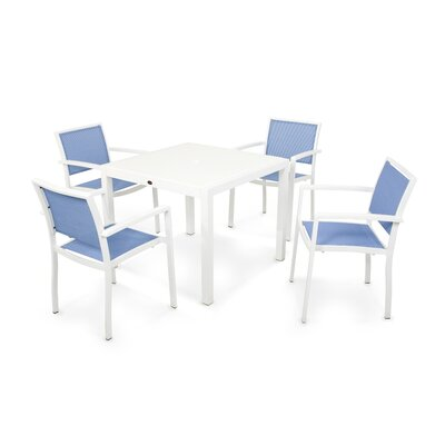 Bayline� 5 Piece Dining Set Finish: Satin White, Fabric: Poolside
