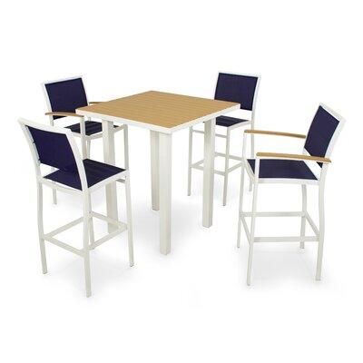Polywood Bayline? 5 Piece Bar Dining Set - Finish: Satin White, Fabric: Navy Blue at Sears.com
