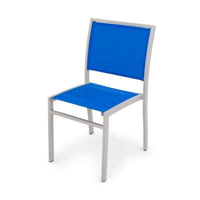 Polywood Bayline™ Dining Side Chair - Finish: Textured Silver, Fabric: Royal Blue