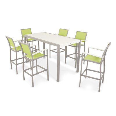 Bayline? 7 Piece Bar Set Finish: Textured Silver / White, Fabric: Avacado