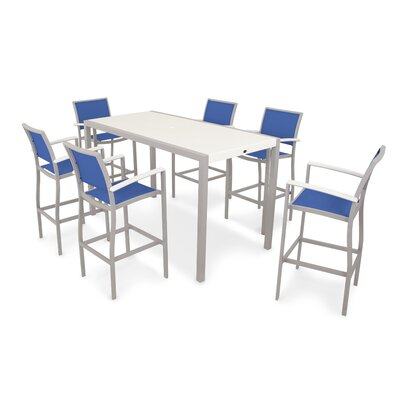 Bayline? 7 Piece Bar Set Finish: Textured Silver / White, Fabric: Royal Blue