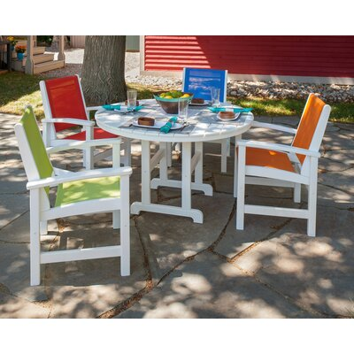 Coastal 5 Piece Dining Set Finish: White, Fabric: Vibrants
