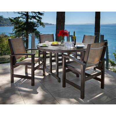 Coastal 5 Piece Dining Set Finish: Black, Fabric: Burlap