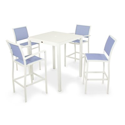 Bayline? 5 Piece Bar Set Finish: Satin White / White, Fabric: Poolside
